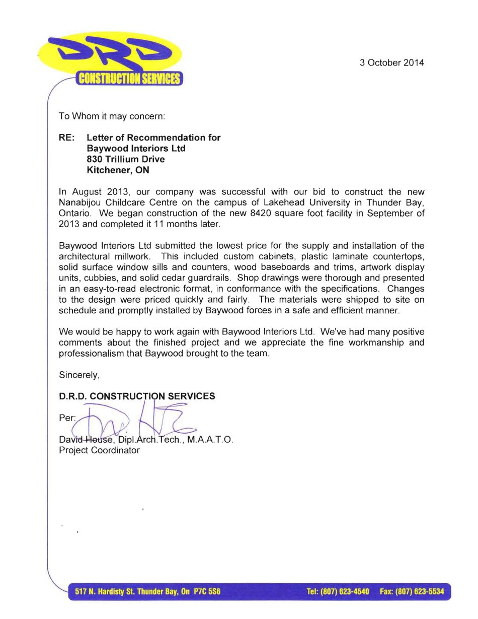 letter of recommendation drd