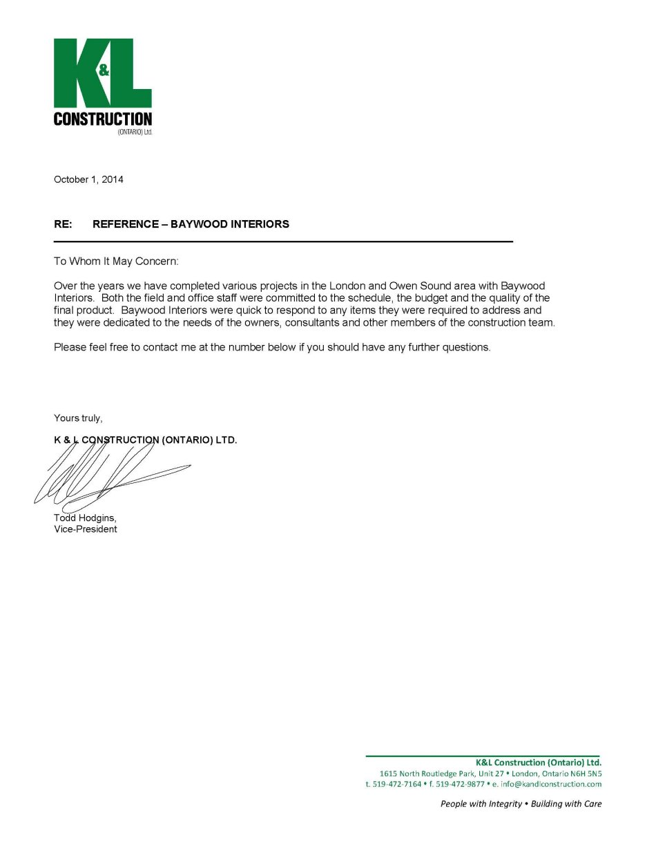 Letters of recommendation baywood interior millwork kl reference letter baywood interiors expocarfo