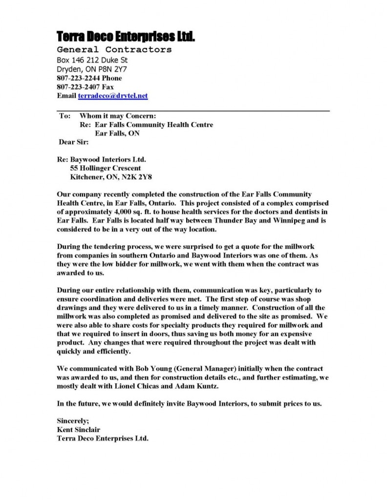 Construction Award Recommendation Letter